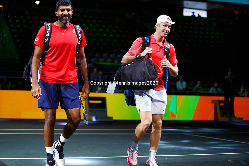 Rotterdam, The Netherlands, 11 Februari 2020, ABNAMRO World Tennis Tournament, Ahoy, <br /> Rohan Bopanna (IND) and Denis Shpovalov (CAN).<br /> Photo: www.tennisimages.com