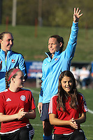 Piscataway, NJ, April 24, 2016. Sky Blue captain, defender Christie Rampone (3) waves to the crowd during player introductions.  The Washington Spirit defeated Sky Blue FC 2-1 during a National Women's Soccer League (NWSL) match at Yurcak Field.