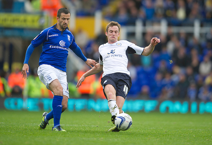 Leicester City's Andy King and Birmingham City's Keith Fahey..Football - npower Football League Championship - Birmingham City v Leicester City - Saturday 20th October 2012 - St Andrews - Birmingham..