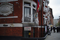 Embassy of Ecuador, London<br /> Amid speculation in the media, demonstrators wait outside the Embassy of Ecuador in anticipation of Julian Assange's expulsion from the premises.  London, England on 06 April 2019.<br /> CAP/SDL<br /> &copy;Stephen Loftus/Capital Pictures