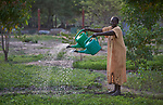 A woman waters the vegetable garden of the Loreto School in Rumbek, South Sudan. The school is run by the Institute for the Blessed Virgin Mary--the Loreto Sisters--of Ireland.