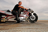 Nov. 1, 2008; Las Vegas, NV, USA: NHRA pro stock motorcycle rider Craig Treble during qualifying for the Las Vegas Nationals at The Strip in Las Vegas. Mandatory Credit: Mark J. Rebilas-