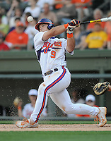 First baseman Phil Pohl (9) of the Clemson Tigers in a game against the Elon College Phoenix on March 21, 2012, at Fluor Field at the West End in Greenville, South Carolina. Clemson won 4-2, giving head coach Jack Leggett his 1,200th win. (Tom Priddy/Four Seam Images)