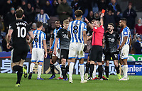 Referee Mike Dean shows a red card to Burnley's Robbie Brady (no. 12)<br /> <br /> Photographer Andrew Kearns/CameraSport<br /> <br /> The Premier League - Huddersfield Town v Burnley - Wednesday 2nd January 2019 - John Smith's Stadium - Huddersfield<br /> <br /> World Copyright © 2019 CameraSport. All rights reserved. 43 Linden Ave. Countesthorpe. Leicester. England. LE8 5PG - Tel: +44 (0) 116 277 4147 - admin@camerasport.com - www.camerasport.com