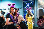 "© Joel Goodman - 07973 332324 . Manchester , UK . 05/04/2015 . Women wearing fancy dress outside "" The Birdcage "" on Withy Grove in Manchester City Centre . Revellers on a Saturday night out during the Easter Bank Holiday weekend . Photo credit : Joel Goodman"