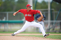 GCL Red Sox relief pitcher Jared Oliver (46) during the second game of a doubleheader against the GCL Rays on August 9, 2016 at JetBlue Park in Fort Myers, Florida.  GCL Rays defeated GCL Red Sox 9-1.  (Mike Janes/Four Seam Images)
