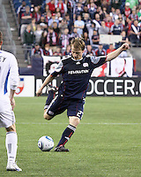 New England Revolution defender Seth Sinovic (27) kicks a long pass from the the midfield. The New England Revolution and San Jose Earthquakes play to a scoreless draw at Gillette Stadium on May 15, 2010