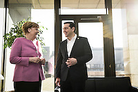 Pictured L-R: German Chancellor Angela Merkel and Greek Prime Minister Alexis Tsipras Friday 19 February 2016<br /> Re: European Union summit in Brussels, Belgium.
