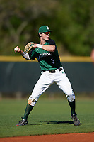 Dartmouth Big Green shortstop Nate Ostmo (5) looks to throw to first base during a game against the Northeastern Huskies on March 3, 2018 at North Charlotte Regional Park in Port Charlotte, Florida.  Northeastern defeated Dartmouth 10-8.  (Mike Janes/Four Seam Images)