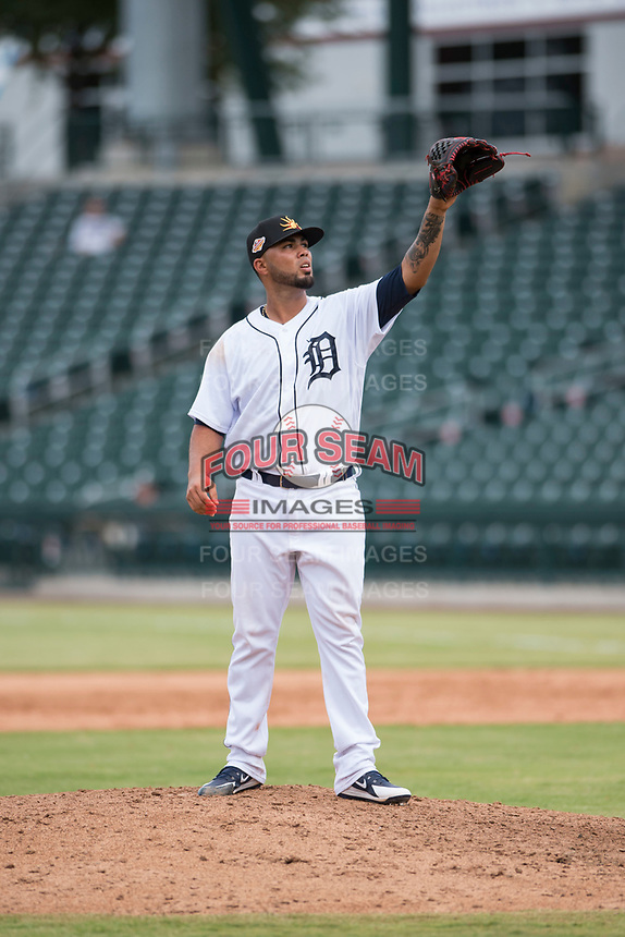 Mesa Solar Sox relief pitcher Eduardo Jimenez (66), of the Detroit Tigers organization, waits to receive the ball back from the catcher during an Arizona Fall League game against the Peoria Javelinas at Sloan Park on October 11, 2018 in Mesa, Arizona. Mesa defeated Peoria 10-9. (Zachary Lucy/Four Seam Images)