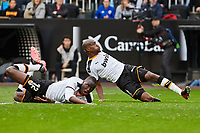 29th February 2020; Mestalla, Valencia, Spain; La Liga Football,Valencia versus Real Betis; Mouctar Diakhaby of Valencia CF and Geoffrey Kondogbia of Valencia CF misses to get his show away on goal