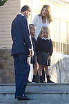 14.09.2012. Prince Felipe of Spain, Princess Letizia of Spain and their daughters Leonor and Sofia  arrive at 'Santa Maria de los Rosales' School in Aravaca near of Madrid, Spain. In the image  Prince Felipe, Princess Leonor, Princess Sofia and Princess Letizia (Alterphotos/Marta Gonzalez)