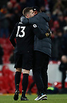Jurgen Klopp manager of Liverpool hugs replacement goalkeeper Adrian of Liverpool after he replaced the red carded Allisson during the Premier League match at Anfield, Liverpool. Picture date: 30th November 2019. Picture credit should read: Simon Bellis/Sportimage