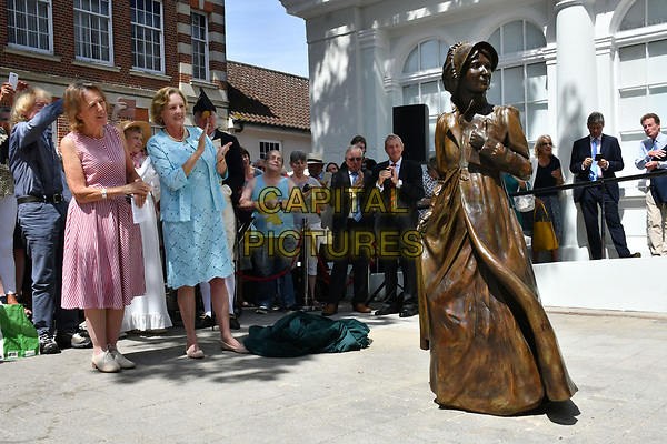The first ever known life size bronze sculpture of Jane Austen unveiled in the market place in Basingstoke, the legendary novelist&rsquo;s home town, as part of the bicentenary celebrations of her death, in Market Square, Basingstoke, England, United Kingdom on July 18, 2017<br /> CAP/JOR<br /> &copy;JOR/Capital Pictures