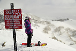 Snowboarding teenager Emma Shapera on a day at Brighton, Utah ...wearing her Aperture parka.