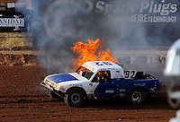 Apr 17, 2010; Surprise, AZ USA; Flames come from the truck of LOORRS pro lite unlimited driver Jacob Person during round 3 at Speedworld Off Road Park. Mandatory Credit: Mark J. Rebilas-US PRESSWIRE.
