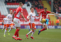 Blackpool's Chris Long chases down Charlton Athletic's Josh Cullen<br /> <br /> Photographer David Shipman/CameraSport<br /> <br /> The EFL Sky Bet League One - Charlton Athletic v Blackpool - Saturday 16th February 2019 - The Valley - London<br /> <br /> World Copyright © 2019 CameraSport. All rights reserved. 43 Linden Ave. Countesthorpe. Leicester. England. LE8 5PG - Tel: +44 (0) 116 277 4147 - admin@camerasport.com - www.camerasport.com
