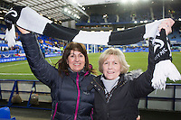 Swansea City fans pictured in the stands at Goodison Park ahead of the Barclays Premier League match between Everton and Swansea City played at Goodison Park, Liverpool