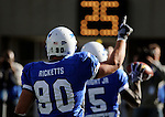 November 7, 2009:  Air Force's Rick Ricketts (#90) celebrates an Anthony Wright (#5) touchdown during the annual battle between the Army Black Knights and the Air Force Falcons at Falcon Stadium, U.S. Air Force Academy, Colorado Springs, CO.  Air Force defeats Army 35-7.