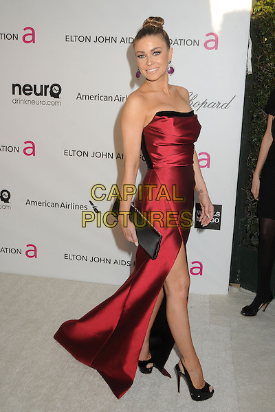 Carmen Electra.21st Annual Elton John Academy Awards Viewing Party held at West Hollywood Park, West Hollywood, California, USA..February 24th, 2013.oscars full length red strapless silk satin dress black clutch bag hair up bun slit split side .CAP/ADM/BP.©Byron Purvis/AdMedia/Capital Pictures.