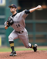 Missouri TIger starting pitcher Aaron Blunt against the Texas Longhorns on Sunday March 7th, 2100 at the Astros College Classic in Houston's Minute Maid Park.  (Photo by Andrew Woolley / Four Seam Images)