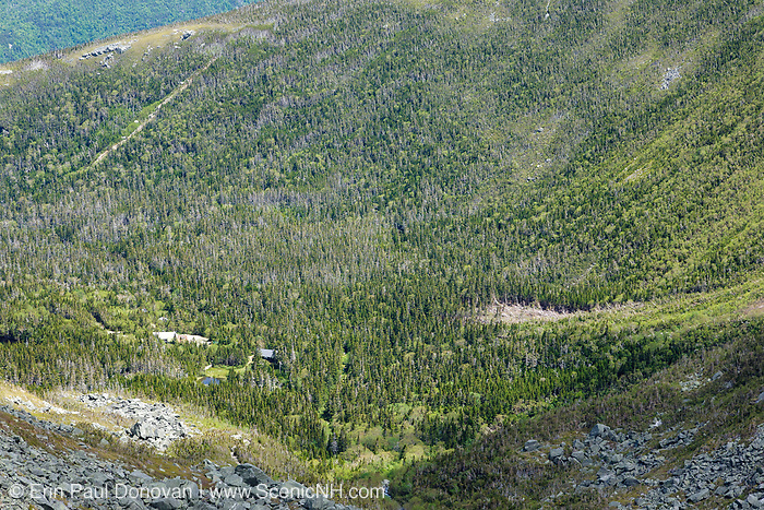Tuckerman Ravine during the early summer months in the White Mountains, New Hampshire USA. Remnants of an avalanche from the winter months can be seen.
