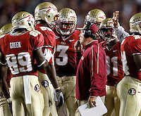 TALLAHASSEE, FL 11/19/11-FSU-UVA111911 CH-Florida State Head Coach Jimbo Fisher talks with the offense during a break in the Virginia game during first half action Saturday at Doak Campbell Stadium in Tallahassee. .COLIN HACKLEY PHOTO