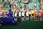 The Hague, Netherlands, June 05: Team New Zealand line up prior to the match during the national anthem before the field hockey group match (Women - Group A) between New Zealand and The Netherlands on June 5, 2014 during the World Cup 2014 at Kyocera Stadium in The Hague, Netherlands. Final score 0-2 (0-2) (Photo by Dirk Markgraf / www.265-images.com) *** Local caption ***