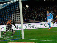 Jose Callejon shoots to score    during the during  r UEFA Europa League round of 32 second  leg match, between Napoli Swansea  at San Paolo stadium in Naples, Feburary 27 , 2014