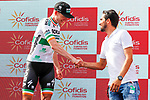 Alberto Contador (ESP) congratulates Sam Bennett (IRL) Bora-Hansgrohe after he wins Stage 3 of La Vuelta 2019 running 188km from Ibi. Ciudad del Juguete to Alicante, Spain. 26th August 2019.<br /> Picture: Luis Angel Gomez/Photogomezsport | Cyclefile<br /> <br /> All photos usage must carry mandatory copyright credit (© Cyclefile | Luis Angel Gomez/Photogomezsport)