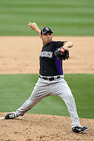 Bruce Billings of the Colorado Rockies plays in a spring training game against the Arizona Diamondbacks at Salt River Fields on February 26, 2011  in Scottsdale, Arizona. .Photo by:  Bill Mitchell/Four Seam Images.