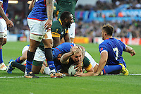 Schalk Burger of South Africa shows his delight at scoring a try during Match 15 of the Rugby World Cup 2015 between South Africa and Samoa - 26/09/2015 - Villa Park, Birmingham<br /> Mandatory Credit: Rob Munro/Stewart Communications
