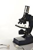 Royalty Free Stock photo of medical instrument microscope and stethoscope