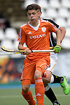 GER - Mannheim, Germany, May 16: During the whitsun tournament boys hockey match between Germany (black) and The Netherlands (orange) on May 16, 2016 at Mannheimer HC in Mannheim, Germany. Final score 4-3 (HT 2-0). (Photo by Dirk Markgraf / www.265-images.com) *** Local caption *** Nick Doeser #5 of The Netherlands