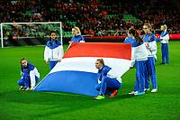 GRONINGEN -  Voetbal, Nederland - Noorwegen, Noordlease stadion, WK kwalificatie vrouwen, 24-10-2017,   vlaggendraagsters