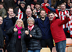 Sheffield Utd fans celebrate during the English League One match at Vale Park Stadium, Port Vale. Picture date: April 14th 2017. Pic credit should read: Simon Bellis/Sportimage