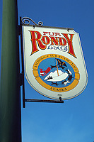 Fur Rondy sign on the street, Anchorage, Alaska