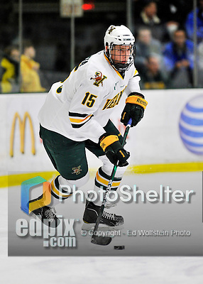 3 December 2011: University of Vermont Catamount defenseman Michael Paliotta, a Freshman from Westport, CT, in action against the University of Maine Black Bears at Gutterson Fieldhouse in Burlington, Vermont. The Catamounts fell to the Black Bears 5-2 in the second game of their 2-game Hockey East weekend series. Mandatory Credit: Ed Wolfstein Photo