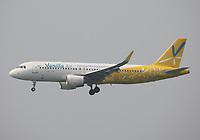 A Vanilla Air Airbus A320-214 Registration JA09VA landing on Runway 25R at Hong Kong Chek Lap Kok International Airport on 6.4.19 arriving from Tokyo Narita International Airport, Japan.
