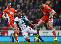 Blackburn Rovers' Adam Armstrong and Blackpool's Oliver Turton<br /> <br /> Photographer Rachel Holborn/CameraSport<br /> <br /> The EFL Sky Bet League One - Blackburn Rovers v Blackpool - Saturday 10th March 2018 - Ewood Park - Blackburn<br /> <br /> World Copyright &copy; 2018 CameraSport. All rights reserved. 43 Linden Ave. Countesthorpe. Leicester. England. LE8 5PG - Tel: +44 (0) 116 277 4147 - admin@camerasport.com - www.camerasport.com