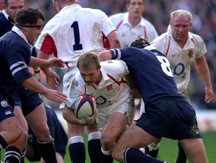 Photo. Richard Lane.England v Scotland. RBS Six Nations Chamionship. 22/03/2003.Matt Dawson breaks the Scottish defence.