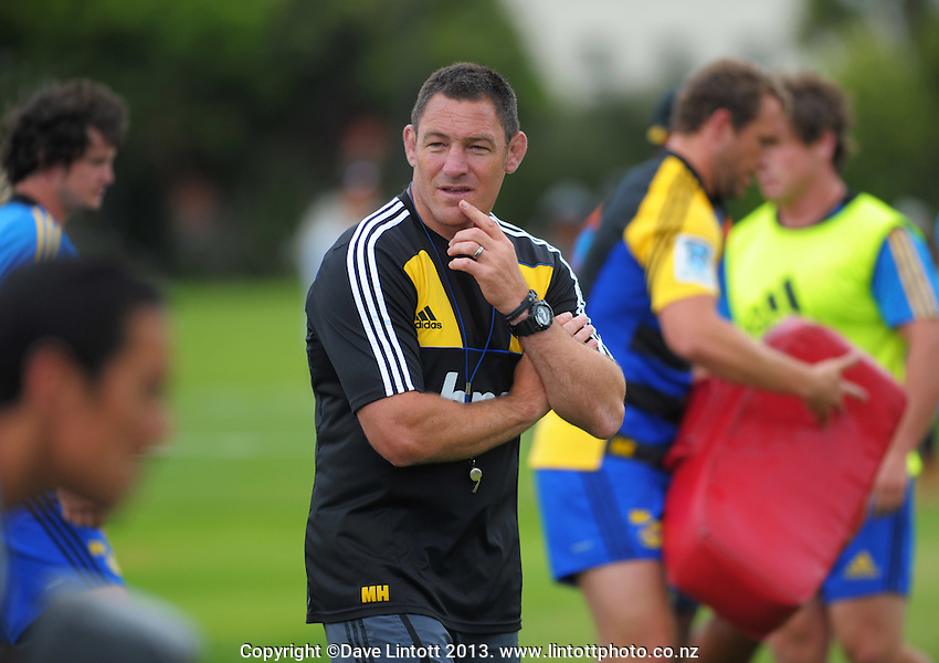 Hurricanes coach Mark Hammett watches his charges during the Hurricanes Super 15 rugby training at Hutt Recreation Ground, Lower Hutt, Wellington, New Zealand on Thursday, 24 January 2013. Photo: Dave Lintott / lintottphoto.co.nz