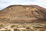 Unusual patterned rock strata on Agujas Grandes volcano, La Isla Graciosa, Lanzarote, Canary Islands, Spain