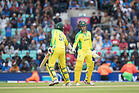 Mitchell Starc (Australia) congratulates Alex Carey (Australia) on his half century during India vs Australia, ICC World Cup Cricket at The Oval on 9th June 2019