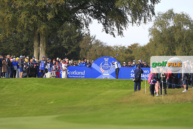 Azahara Munoz of Team Europe on the 7th tee during Day 1 Foursomes at the Solheim Cup 2019, Gleneagles Golf CLub, Auchterarder, Perthshire, Scotland. 13/09/2019.<br /> Picture Thos Caffrey / Golffile.ie<br /> <br /> All photo usage must carry mandatory copyright credit (© Golffile   Thos Caffrey)
