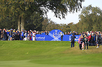 Azahara Munoz of Team Europe on the 7th tee during Day 1 Foursomes at the Solheim Cup 2019, Gleneagles Golf CLub, Auchterarder, Perthshire, Scotland. 13/09/2019.<br /> Picture Thos Caffrey / Golffile.ie<br /> <br /> All photo usage must carry mandatory copyright credit (© Golffile | Thos Caffrey)