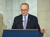 United States Senator Chuck Schumer (Democrat of New York), the incoming US Senate Minority Leader makes remarks at the ceremony where the official portrait of US Senate Minority Leader Harry Reid (Democrat of Nevada) is to be unveiled in the Kennedy Caucus Room on Capitol Hill in Washington, DC on Thursday, December 8, 2016.<br /> Credit: Ron Sachs / CNP