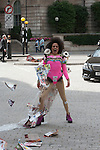 Quilla Constance impromptu performances and demos  are to attack  the objectification of woman  and the pop industry ,Fine artist Jennifer Allan used her Quilla persona to satrise  celebrity and the media culture 12th sept 2014<br /> <br /> PICTURE BY BRIAN JORDAN