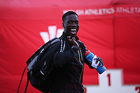 Tuesday 15th July 2014<br /> Pictured: Christian Malcolm <br /> RE: Welsh Sprinter Christian Malcolm arrives smiling at the Welsh Athletics International at Cardiff International Sports Stadium, South Wales, UK.