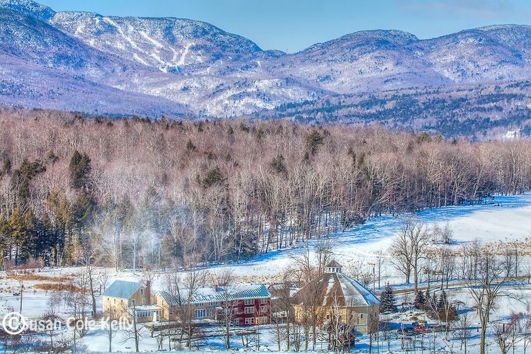 View of the Round Barn Farm under the Green Mountains from Waitsfield, VT, USA